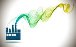Icona della fabbrica ed onda di colore dell'estratto Fotografie Stock Libere da Diritti