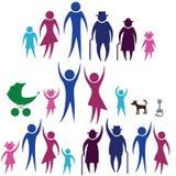 Icona della famiglia della siluetta della gente di protezione. illustrazione vettoriale