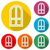Icona della finestra, segno della finestra, icona semplice di vettore, icona di colore con ombra lunga Immagine Stock Libera da Diritti
