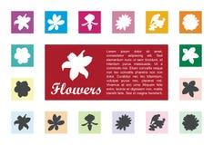 Icona della flora nel vettore della scatola quadrata Immagini Stock