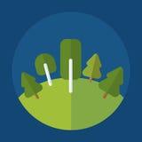 Icona della foresta su fondo blu rotondo Fotografia Stock Libera da Diritti