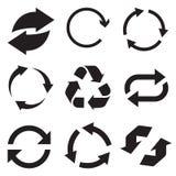 Icona della freccia del cerchio Rinfreschi e ricarichi l'icona della freccia Frecce di vettore di rotazione messe Vettore Illusta illustrazione di stock