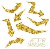 Icona della freccia dell'oro Fotografia Stock