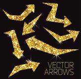 Icona della freccia dell'oro Fotografia Stock Libera da Diritti