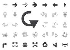 Icona della freccia di svolta a sinistra Icone dell'illustrazione della freccia messe immagini stock
