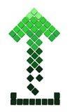 Icona della freccia di Upload fatta del cub verde di gradiente Fotografia Stock Libera da Diritti