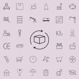 Icona della freccia della scatola e del globo Insieme universale delle icone di logistica per il web ed il cellulare illustrazione vettoriale