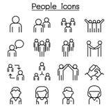 Icona della gente messa nella linea stile sottile royalty illustrazione gratis