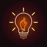 Icona della lampada di idea, mondo Fotografie Stock