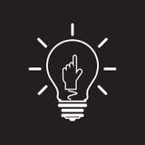 Icona della lampada di idea, mondo Fotografia Stock Libera da Diritti