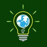 Icona della lampada di idea, mondo Fotografia Stock