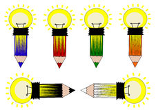 Icona della lampadina della matita Immagine Stock