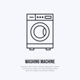 Icona della lavatrice, linea logo della rondella Segno piano per servizio della lavanderia automatica Logotype per la lavanderia  illustrazione vettoriale