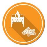 Icona della legna da ardere e dell'addetto alla brasatura Fotografie Stock