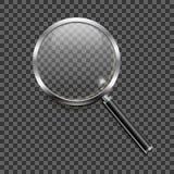 Icona della lente d'ingrandimento su fondo trasparente Fotografia Stock Libera da Diritti