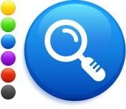 Icona della lente d'ingrandimento sul tasto rotondo del Internet Fotografie Stock Libere da Diritti