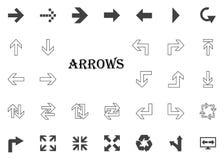 Icona della lettera delle frecce Icone dell'illustrazione della freccia messe immagini stock