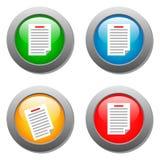 Icona della lista sull'insieme dei bottoni di vetro Immagini Stock Libere da Diritti