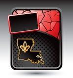 Icona della Luisiana sulla bandiera incrinata rossa Immagini Stock