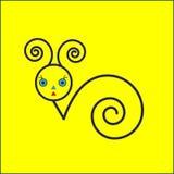 Icona della lumaca su fondo giallo Fotografie Stock