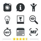 Icona della macchina fotografica della foto Fuoco e segni manuali di macro illustrazione vettoriale