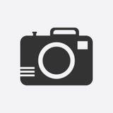 Icona della macchina fotografica su fondo bianco Fotografia Stock