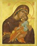Icona della madre di Madonna del dio e del Gesù Cristo Fotografie Stock Libere da Diritti