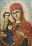 Icona della madre divina con Jesus Immagini Stock Libere da Diritti
