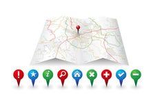 Icona della mappa di vettore con l'icona dei gps Immagine Stock