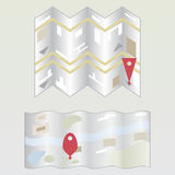 Icona della mappa di vettore con Pin Pointer Illustrazione Vettoriale