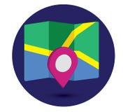 Icona della mappa un 3D Pin Design Fotografia Stock
