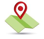 Icona della mappa un 3D Pin Design illustrazione vettoriale