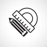 Icona della matita e del goniometro Fotografia Stock Libera da Diritti