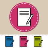 Icona della matita e della lavagna per appunti - illustrazione variopinta editabile di vettore - isolata su bianco Fotografia Stock