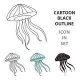 Icona della medusa nello stile del fumetto isolata su fondo bianco Illustrazione di vettore delle azione di simbolo degli animali Immagini Stock