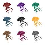 Icona della medusa nello stile nero isolata su fondo bianco Illustrazione di vettore delle azione di simbolo degli animali di mar Fotografia Stock