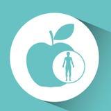 Icona della mela di salute dell'uomo della siluetta Immagine Stock