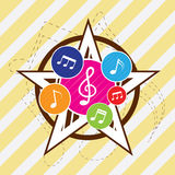 Icona della nota di PrintMusic sulla priorità bassa della stella Fotografia Stock
