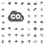 Icona della nuvola di CO2 Icone di vettore del tempo messe Fotografia Stock