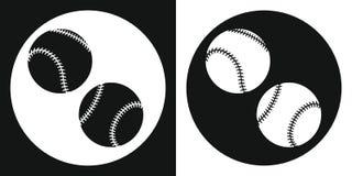 Icona della palla di baseball Palla di baseball della siluetta su un fondo in bianco e nero Strumentazione di sport Illustrazione Fotografia Stock Libera da Diritti