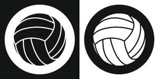 Icona della palla di pallavolo Palla di pallavolo della siluetta su un fondo in bianco e nero Strumentazione di sport Illustrazio Fotografie Stock