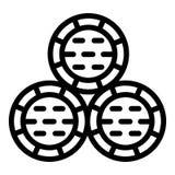 Icona della pila del barilotto del whiskey, stile del profilo illustrazione vettoriale