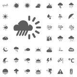 Icona della pioggia e del sole della nuvola Icone di vettore del tempo messe Immagine Stock