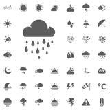 Icona della pioggia e della nuvola Icone di vettore del tempo messe Fotografie Stock Libere da Diritti