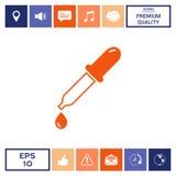 Icona della pipetta con goccia Fotografia Stock