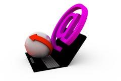 icona della posta 3d con il concetto del computer portatile Fotografia Stock Libera da Diritti