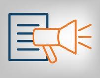 Icona della pubblicazione Megafono con le linee blu della lista di informazioni ed arancio laconiche su fondo grigio oggetto isol illustrazione vettoriale