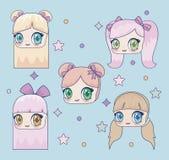 Icona della ragazza di Kawaii illustrazione vettoriale