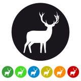 Icona della renna di natale - illustrazione variopinta di vettore - isolata su bianco royalty illustrazione gratis