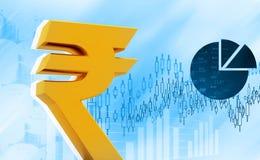 Icona della rupia indiana sul fondo del mercato azionario Fotografia Stock